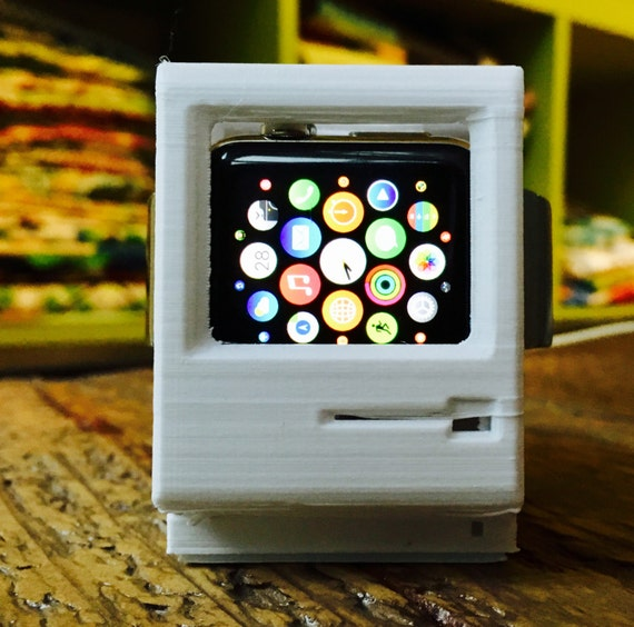 3D Printed Apple Macintosh - Retro Charging Dock for Apple Watch - Plant Based Eco Friendly Filament - by joeyandaleethea
