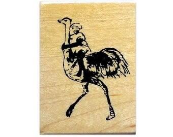 Ostrich Jockey African unmounted rubber stamp, bird rider, Africa, Sweet Grass Stamps No.17