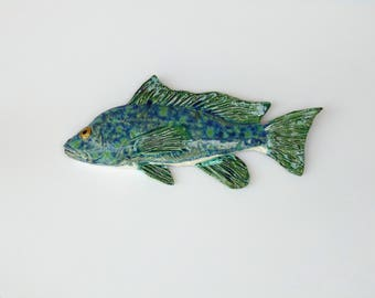 Sea Bass Ceramic fish art decorative wall hanging
