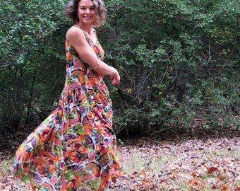 vintage 80's whimsical fruit print autumn colored dress. drop waist. size small or medium