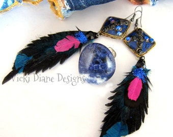 Lavinia wear Lapis, feathers and leather