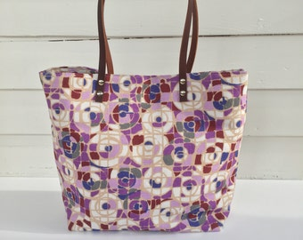 Geometric Linen Tote Leather Handles Weekender Bag Beach Bag