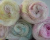 Unicorn Carded Art Batt - Carded Wool - Fibre for Spinning - Felting - Textured Batt - Merino - Sparkle - Pastels - Nepps -Textile Art