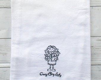Crazy Dog Lady Dish Towel Dog Lovers Kitchen Towel Dog Lovers Gift Dog