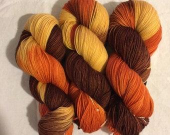 Hand dyed superwash sock yarn INDIAN SUMMER
