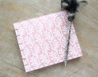Guest Book, Pink Coral 6x7 inches, unlined hand-torn pages, Ready to ship