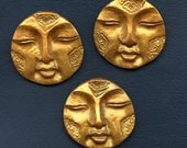 Reserved for Kaye Only Lot of 3  Metallic gold Round Textured  Spirit Doll Faces