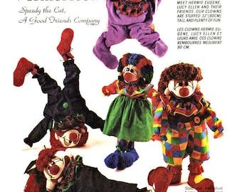 McCall's 5461 Crafts Sewing Pattern Circus Memories Clown Rag Dolls 32 Inch OOP Vintage