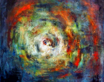 Huge Vortex Art Abstract Painting on Canvas - 48x48 - Modern Wall Art by BenWill