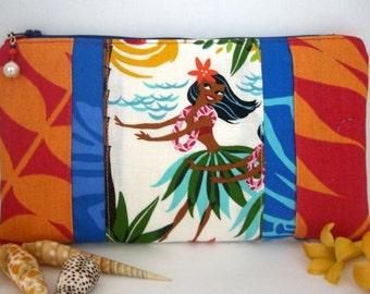 Hawaiian Hula Girl Zipper Bag - made with ALOHA