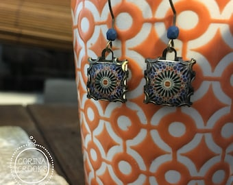 Islamic Tile Design earrings, Islamic jewelry, Bohemian earrings, Middle Eastern tile design, Handmade earrings, Folk art, Middle Eastern
