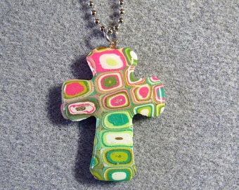 Polymer Clay Resin Klimt Retro Mod Christian Cross Necklace Large C5
