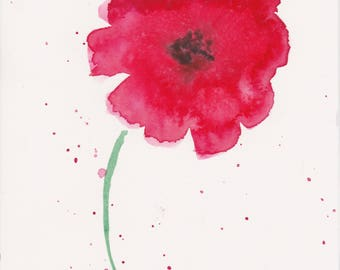 Red Poppy I Watercolor Original