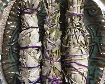 LAVENDER SAGE Ceremonial Smudge Bundle Stick 4 inches mini
