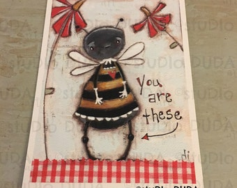 New!  STUDIO DUDA ART mini print/frameable greeting card on velvety bright paper -The Bees Knees - 5x7 print