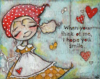 Print of my Original Mixed Media Painting - I Hope You Smile - 8 x 10 print