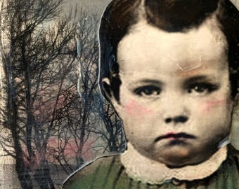 Painting vintage Boy portrait on chunky gallery canvas Heather Murray
