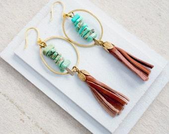 Hoop and tassel Earrings, Beaded tassel Earrings, Magnesite tassel earrings