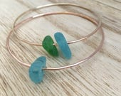 Custom Gold/Rose Gold Hawaiian Sea Glass Bangle SINGLE BANGLE