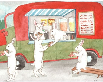 RESERVED for LS - Original Art - Taco Truck - Watercolor Rabbit Painting