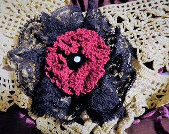 Victorian Steampunk Burgundy Crochet Lace Flower lapel pin hat pin hair clip