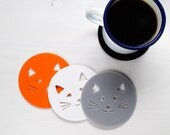 Kitty Coasters set of four - Cat Coasters - Cat Homeware - Cat Gift - Gift for Cat Lover - Cat lady gift - Kitty Gift - Cat Face