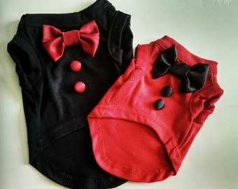 Dog clothes dog shirt pet tee Love Me design on a red or black sleeveless shirt with bow tie and buttons down the front.