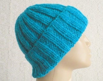 Watch cap, skull cap, aqua turquoise blue, ribbed beanie hat, blue hat, winter hat, knit toque, ski snowboard, skateboard, mens womens hat