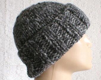 Watch cap, brimmed beanie hat, grey black, tweed hat, beanie hat, winter hat, knit toque, ski snowboard, skateboard, hiking, mens womens hat