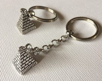 Silver Pyramid Keychain Key Ring or Zipper Pull - Egyptian Key Chain
