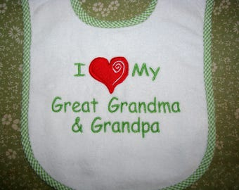 I Heart My Great Grandma and More Personalized Baby Bib.  3 Sizes.
