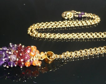 The Endowment necklace - lilac quartz, amethyst, garnets, red spinel, carnelian, vermeil bail and gold filled chain
