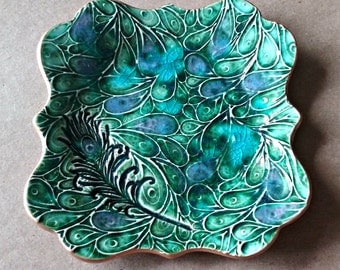 Ceramic Trinket Dish  Peacock Green with Feather edged in gold