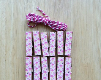 Pink Flamingos Chunky Little Clothespin Clips w Twine for Display -  Set of 12 - Girl Baby Birthday - Pool Party - Gifts Under 10