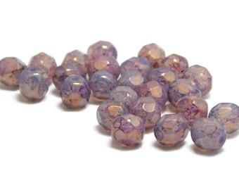 Czech Fire Polished Beads - 6mm Fire Polished - Round Beads - Czech Glass - Glass Beads - Czech Beads - Purple Fire Polished - 25pcs (3437)