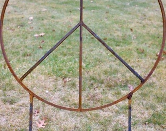 34 inch diameter Metal Peace Sign with two 32 inch tall legs