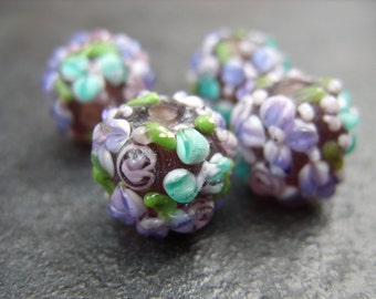 Lampwork Beads-Turquoise and Purple Flowers
