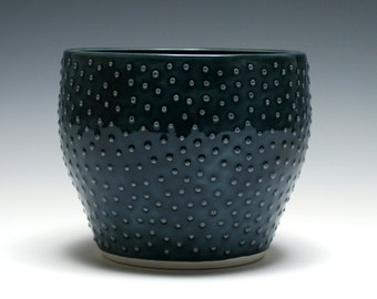 Dark Blue Bowl with Raised Dots