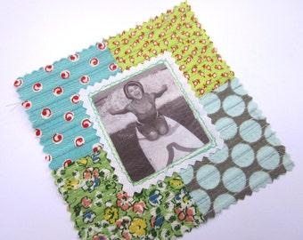 Fabric Patch, Quilt Block, Applique - Surfer Girl