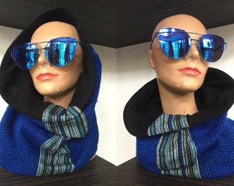 Reversible Neckwarmer, Italian Wool, Hood, Scarf, Scoodie, Infinity Scarf