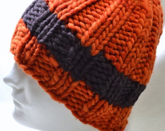 Hand Knit Super Chunky Beanie in Tangerine and Espresso Brown 100% US Wool Stylish Fun and Warm