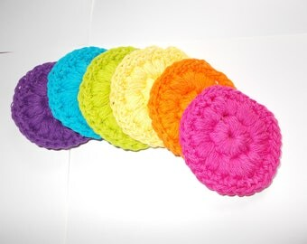 Cotton Face Scrubbies, Face Cloth, Face scrubbers, Makeup Pad Removers, Bath and Body, Textured Bumpy,Set of 6, Eco Friendly, Brights