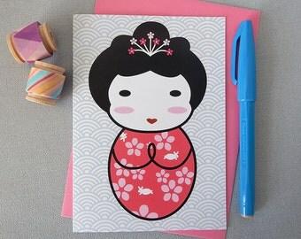 Japanese Kokeshi Doll Kawaii Card
