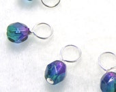 LAST SET AVAILABLE Northern Lights Droplet Stitch Markers Knitting or Crochet (Choose Your Size - Set of 10)