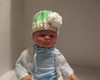 hat, 6 months, beanie, green, variegated, baby girl, baby beanie, baby hat, hat with rose, Photo prop, shower gift, warm, winter