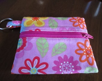 Little bag, coin purse, purse and accessory, pouch, pink floral, yellow, zipper, bags and purses, pouches and coin purses, key chain,