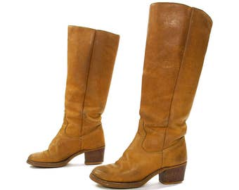 70s Brown Leather Campus Boots Vintage 1970s Classic Biker Western Equestrian Cowboy Tall Knee High Pull On Stovepipe Boots Women's 6 or 5.5
