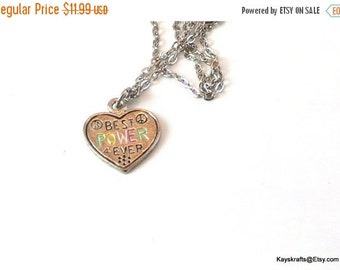 25% OFF Peace Heart Necklace, Vintage Best Power 4Ever Necklace, 1970 Peace Necklace, Silvertone Necklace, 16 Inch Chain, Christmas Gift