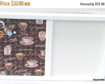 25% OFF Coffee Time White Framed Cork board, Dry Erase White Board, 17x11 Bulletin Board, Tack Board, White Board Message Center, Kitchen De
