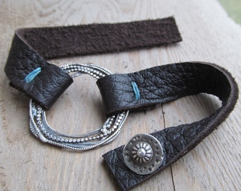 Silver and Leather Bracelet Western Jewelry Rustic Leather and Silver Bracelet Handmade Button Bracelet Adjustable Leather Cuff Bracelet